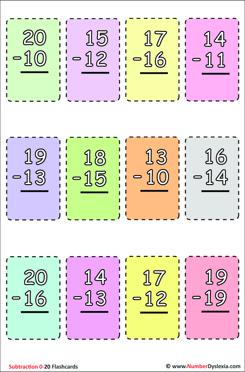 Printable Subtraction Flashcards 0-20 with Free PDF